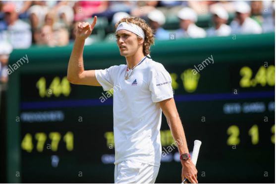 Alexander Zverev indicating the chair he wishes to challenge the call